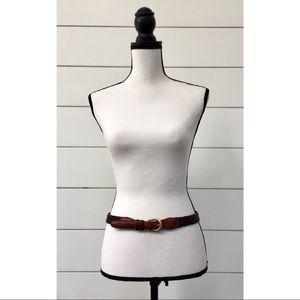 Vintage Coach British Tan Leather Braided Belt